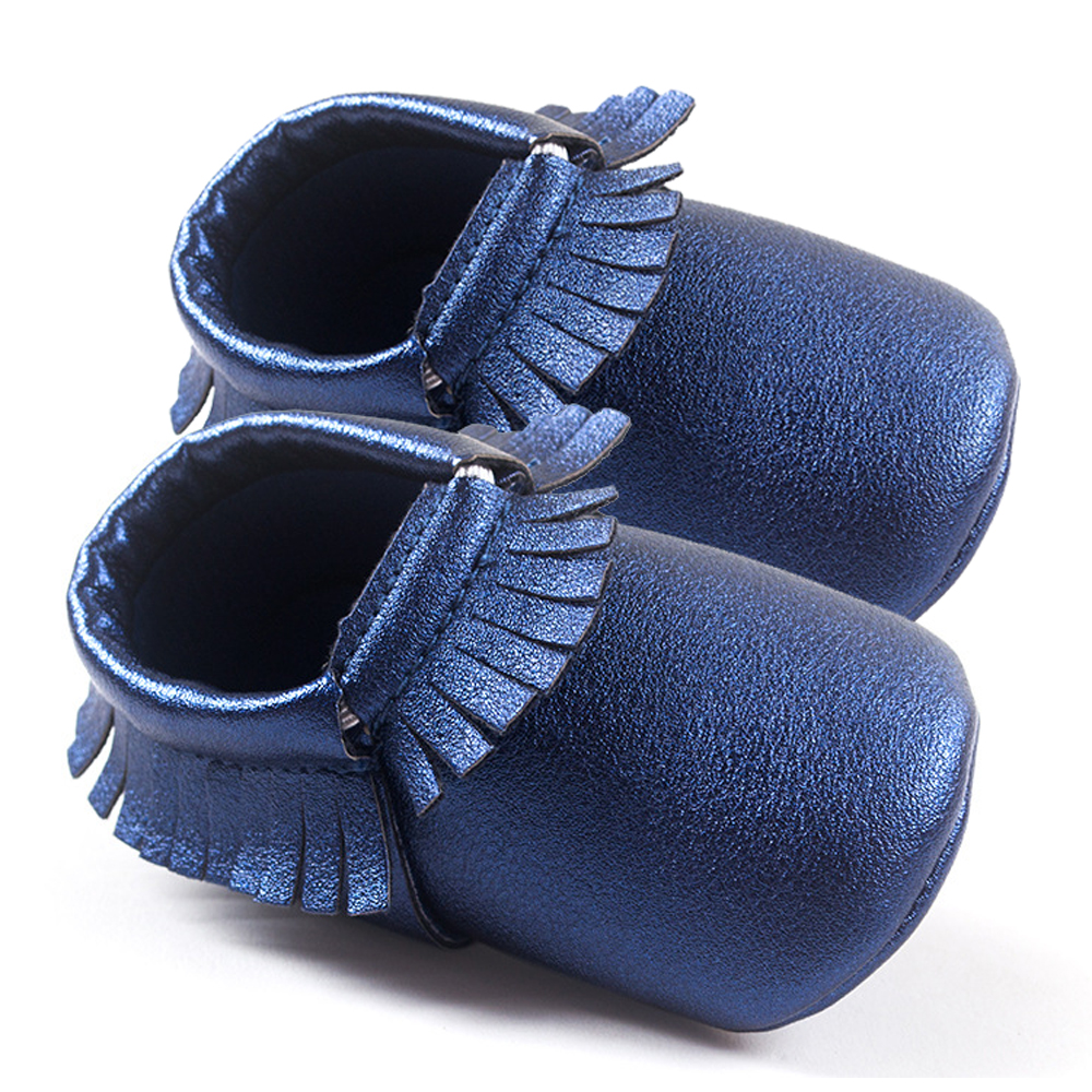 Baby Moccasins Shoes Sneakers Newborn Boys Girls First Walker Infants Kids Soft Crib Tassels Leather New Jeans Blue w/ 12 Style+