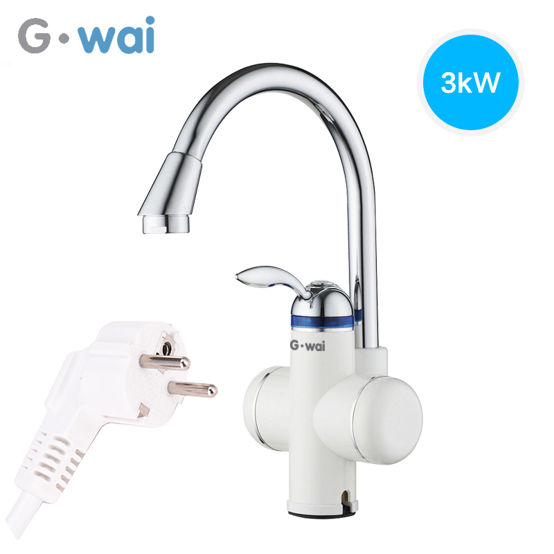 GWAI Modern Brass Kitchen Faucet Mixer Cold and Hot Cocina Tap Single Hole Water Heater Tap Torneira Cozinha Rotate 360 Degrees