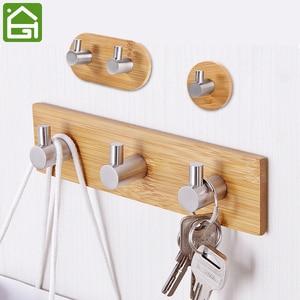 Adhesive Natural Bamboo Stainless Steel Hook Wall Clothes Bag Headphone Key Hanger Kitchen Bathroom Door Towel Rustproof Shelf(China)