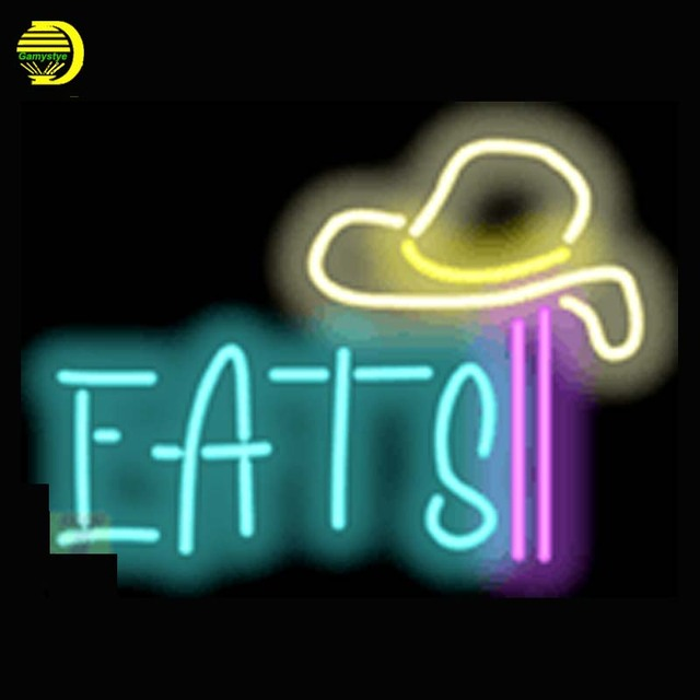 Eats Neon Sign Food Neon Bulb Publicidad Handcrafted Glass Tube Affiche  Lamp Light Bulb Bright Beer Business Art Signs 17x14-in Neon Bulbs & Tubes