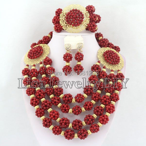 Handmade African Coral Beads Jewelry Sets Nigerian Wedding African Beads Jewelry Sets    HD0728Handmade African Coral Beads Jewelry Sets Nigerian Wedding African Beads Jewelry Sets    HD0728