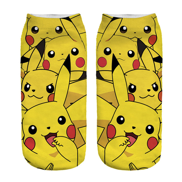 New Arrival Kawaii Harajuku 3D Printed Pokemon Pikachu Socks