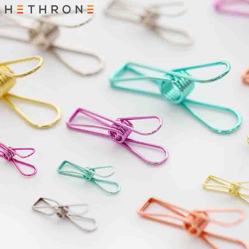 Hethrone Kawaii Colorful Multifunction Metal Paper Clip Binder Clip For Photo Message Ticket File Bookmark Office Long Memo Clip