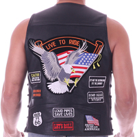 Leather Vest Men Waistcoat Embroidery Halley Motorcycle Riding Punk Hip hop Thick Cowhide Wind proof warmth retention WoMen's*
