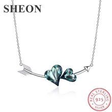 SHEON Heart Collection 925 Sterling Silver Green Crystal Arrow of love Pendant Necklace for Valentine Sterling Silver Jewelry недорого