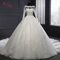 Jark Tozr 2018 New Design Open Back Long Sleeve Gorgeous China Bridal Gown Vestido De Novia Beading Lace Appliques Wedding Dress