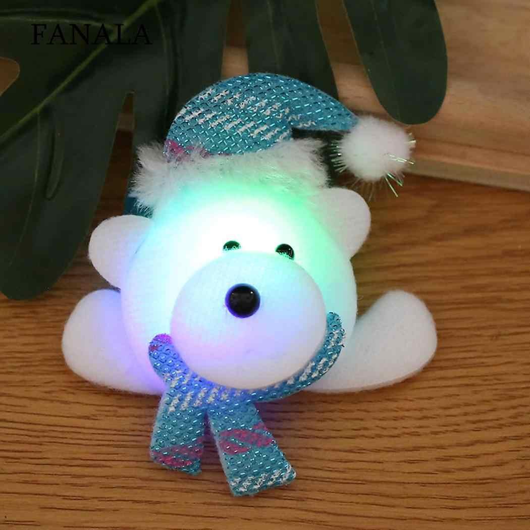 Regalo de Navidad LED muñeco de nieve Oso de ciervo regalo de Navidad, dibujos animados, encantador broche de dibujos animados parpadeante insignia de juguete