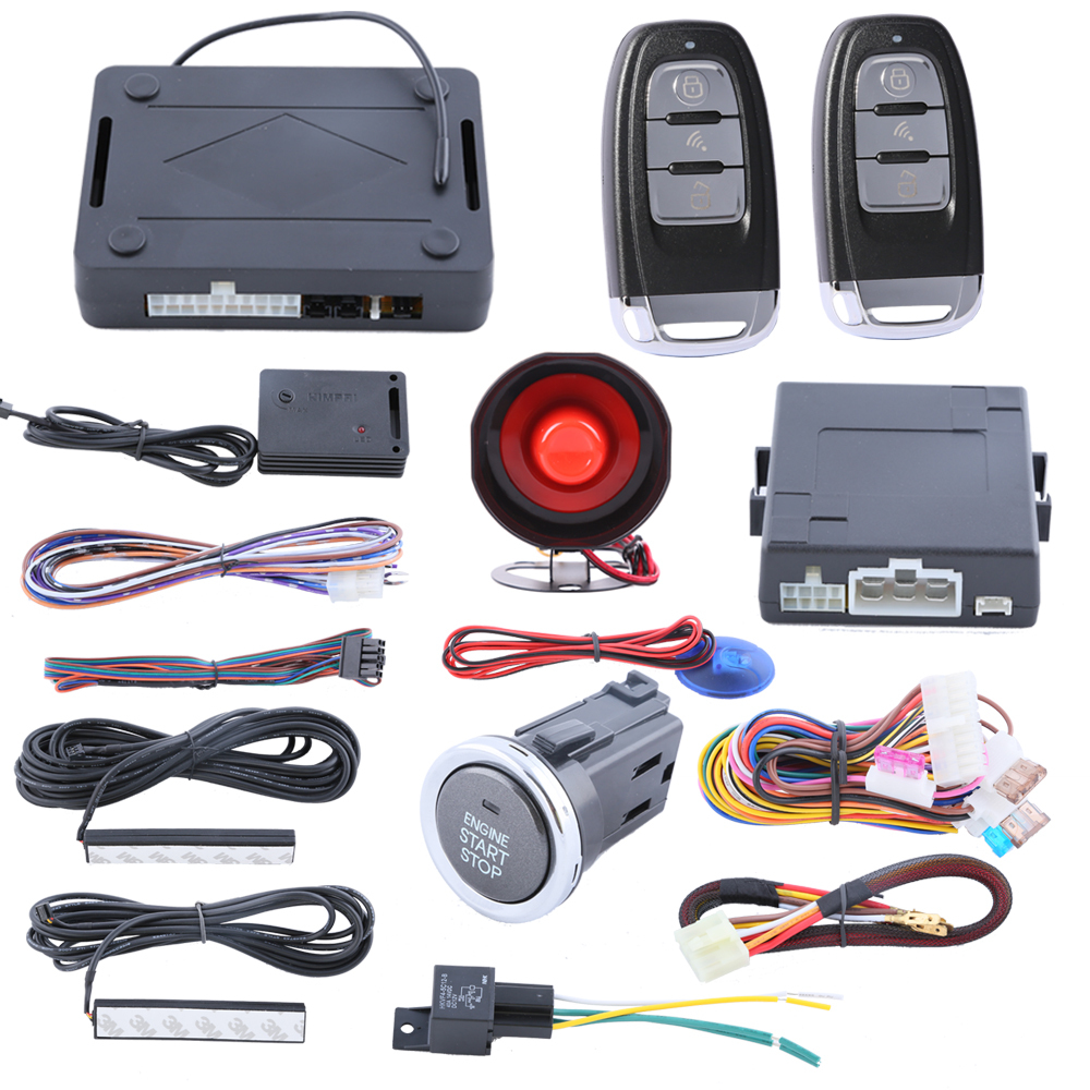 Hopping code 433.92MHZ PKE car alarm system with push button start/stop function, remote trunk release and power window output easyguard pke car alarm system remote engine start stop shock sensor push button start stop window rise up automatically