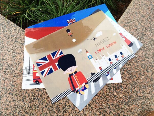 London Style PVC  Files Folder Cute  Botones A4 Documents Bag  For School Office Envelope To File Cover  Curpetas Escolar