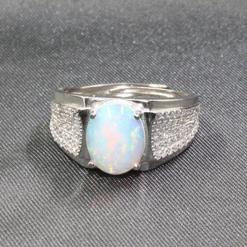 CoLife Jewelry 925 Silver Gemstone Ring for Man 8mm*10mm Natural Opal Man Ring Silver Opal Jewlery for Man Fathers Day Gift