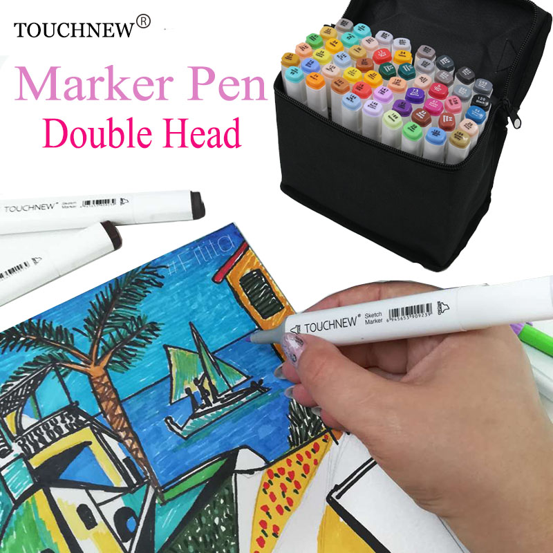 TOUCHNEW 168 Colors Artist Dual Headed Marker Set Animation Manga Design School Drawing Sketch Marker Pen Art Supplies caneta цена