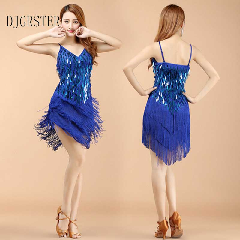 DJGRSTER 2019 High Quality Sexy Tassel Sequins Latin Dance Dress Fringe Latin Dance Costumes Women Sleeveless V-neck Latin Dress