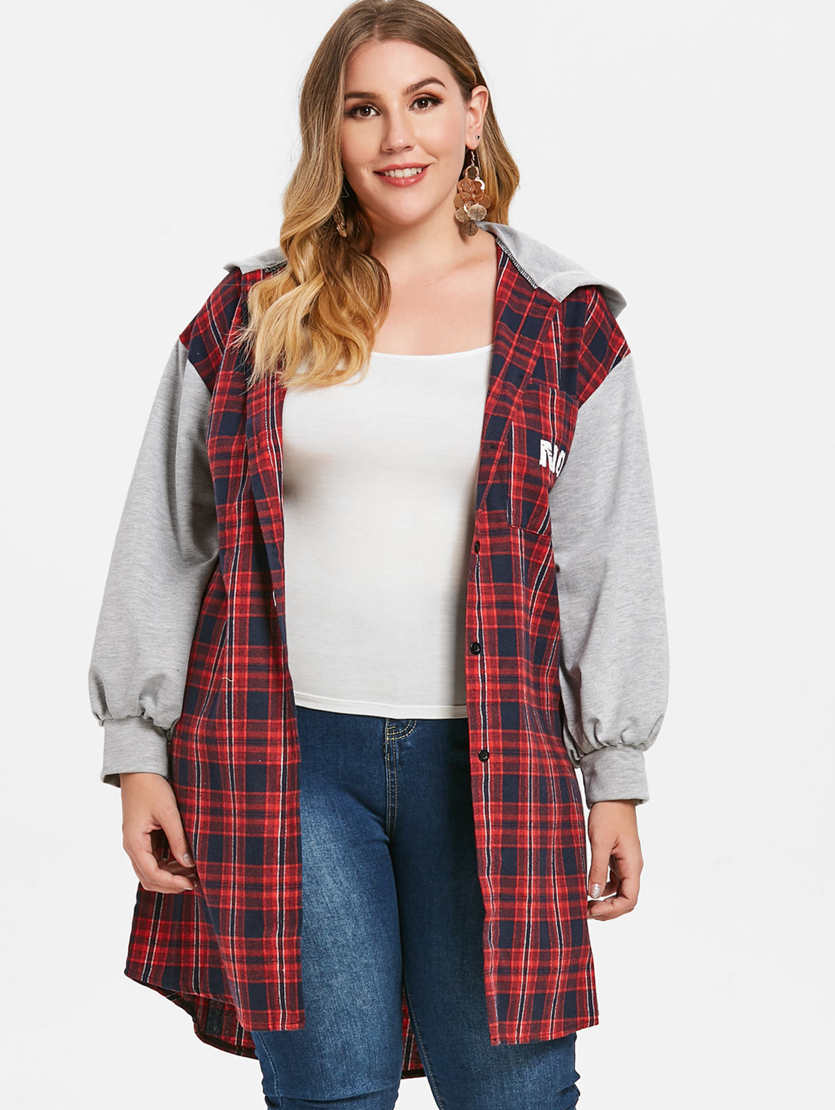 2018 Autumn Winter Coat Women Jacket Plus Size Ladies Women Jacket Hat Casual Coat Outwear Big Size Plaid Back Printed Coats