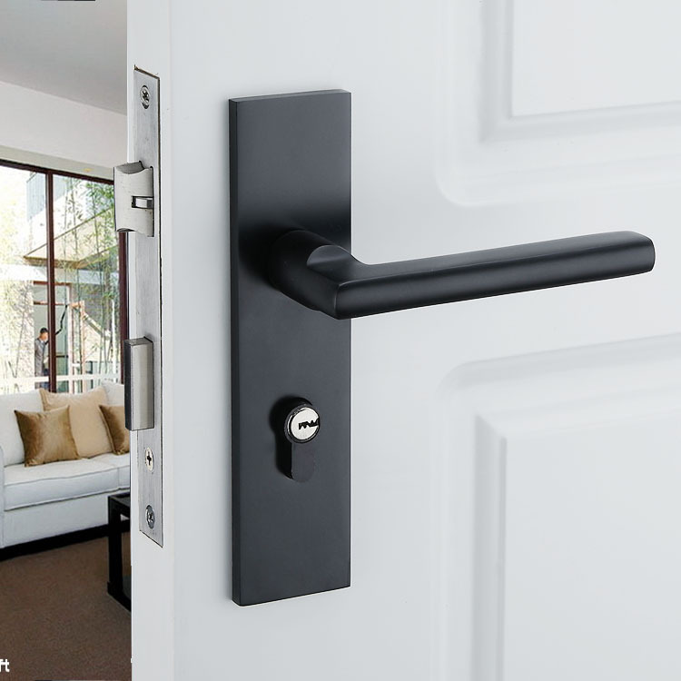 Black Solid Space Aluminum Door Locks Continental Bedroom Minimalist Interior