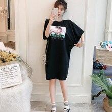 Poungdudu Материнство беременных женщин футболка хлопок высокого качества платье для беременных большой размер длинный реальный shot весна и s