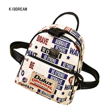 Kibdream pu печать письма 2017, Новая мода отдыха дамы рюкзак мешок личность Бесплатная доставка