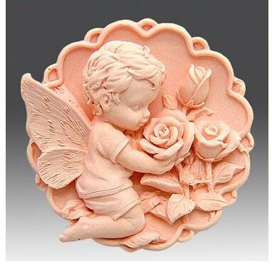 Angel Shape Bathing Soap Mold Rose Patter round silicone molds food grade safe bath salt soap making tool hand made soap mould