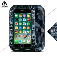 Love Mei Camouflage Metal Armor Shockproof Case For iPhone 7 Plus Waterproof Cover Aluminum Outdoor Case For iPhone 7 Phone