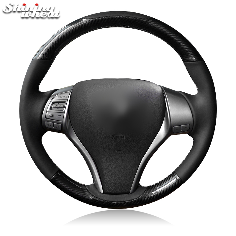 Shining wheat Black Leather Carbon Fiber Pu Steering Wheel Cover for Nissan 2013 Teana 2014 X Trail QASHQAI Sentra-in Steering Covers from Automobiles & Motorcycles    1