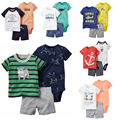 2017 Летний стиль набор бразилия короткая одежда комбинезон Короткий Т футболка детская одежда набор мальчик детская одежда бесплатно корабль