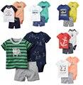 2017 Summer style set brasil ropa corta mamelucos Corto T camiseta bebé ropa de bebé ropa de los niños libres nave