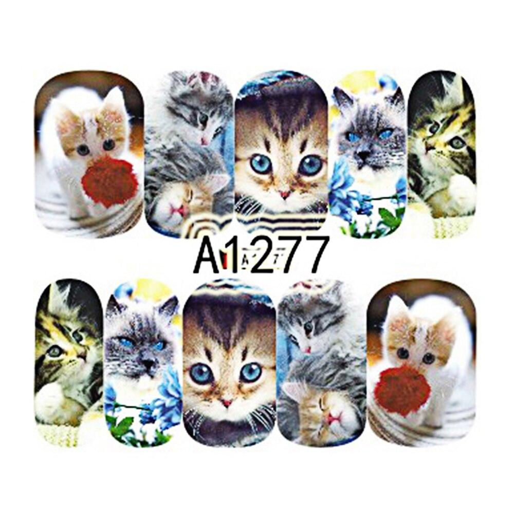 12 Designs Schöne Katzen Designs Nail art Aufkleber Voll Wraps ...