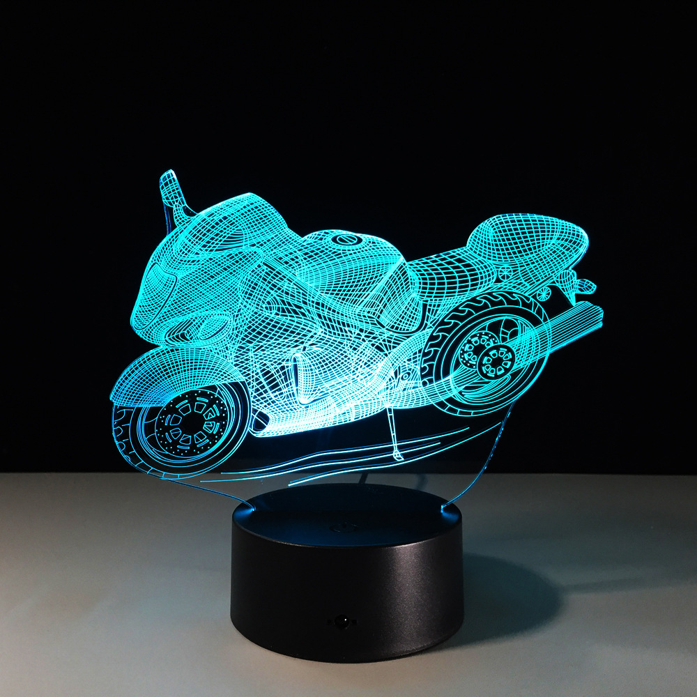 Motorbike Optical Illusion 3D LED Night Light USB 7 Colors Changeable Mood Lamp Bedroom Table Lamp Kids Friends Novelty Gifts italia inter fc fans milan 3d soccer lamp juventus club 7 colorful football night light best gifts for kids dad friends dropship