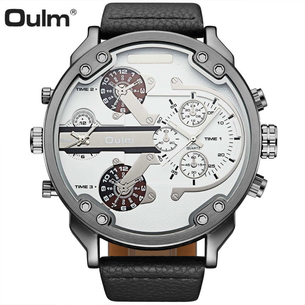 OULM Big Size Quartz Watch Men Leather Strap Dual Time Mens Watches Top Brand Luxury Unique Sports Casual Relogio Masculino