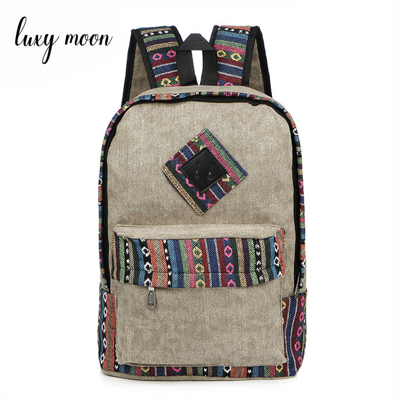New Female Women Ethnic Brief Canvas Backpack Preppy Style School Lady Girl Student Travel Laptop Bag National Mochila Bolsas