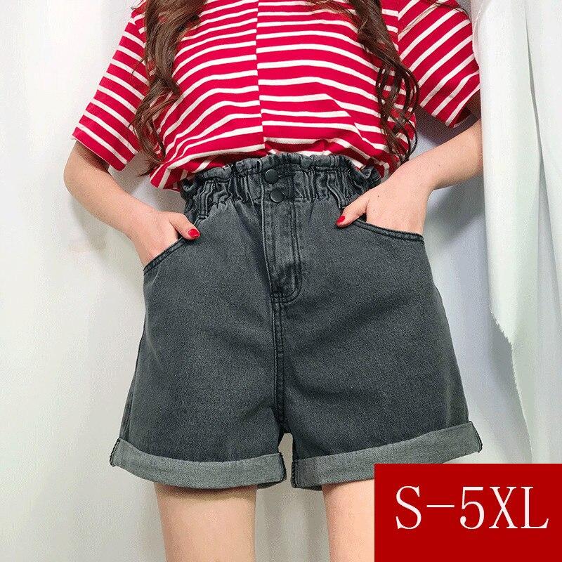 S-3xl,4xl,5XL Plus Size 2 Colors 2018 Summer High Waist Skirt Shorts Feminino Denim Shorts Wide Leg Jeans Womens Shorts (0911)