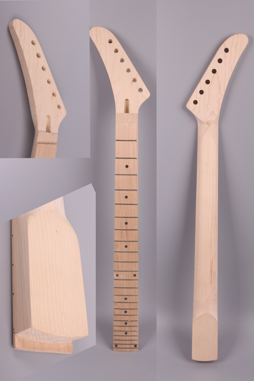 Guitare électrique cou 25.5 pouce 24 fret maple banane poupée main Gauche