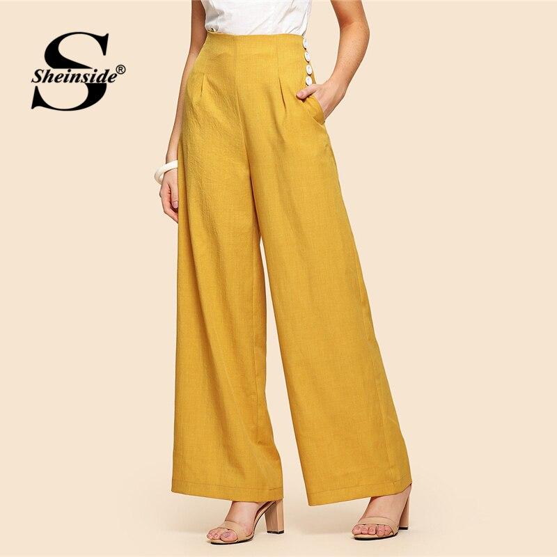 Sheinside желтый Высокая талия широкие штаны женские офисные спецодежды кнопку деталь карманов однотонные брюки Для женщин элегантные свободн...