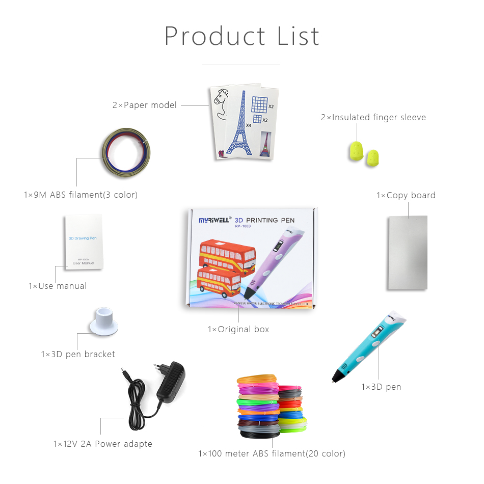 Myriwell, 3D ручка, светодиодный экран, сделай сам, 3D Ручка для печати, 100 м, ABS нити, креативная игрушка, подарок для детей, дизайнерский рисунок