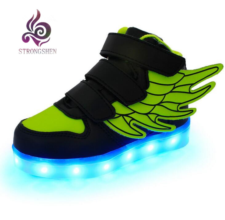 STRONGSHEN New USB Ricarica Led per bambini Scarpe con Light Up Kids Casual Boys & Girls Sneakers Luminose Glowing Shoe Hook & Loop