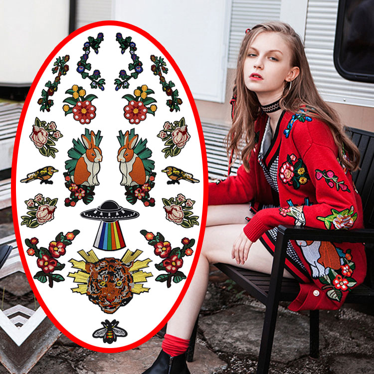 Embroidery fashion large rabbit tiger patches of sweater clothing DIY craft design decoration patch