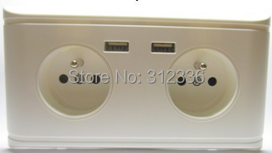 Free Shipping French type four circle Holes 250V 16A  2 USB DC 5V 2000mA   white panel wall Socket  French style free shipping 120 models 120pcs usb socket 2 0