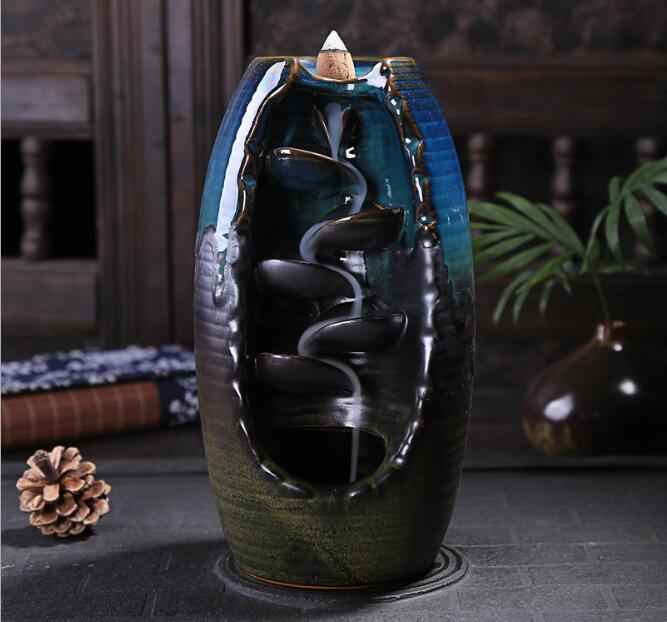 Brûleur en céramique parfum Lotus titulaire encensoir créatif aromathérapie fumée Backflow bâton encensoir d'encens