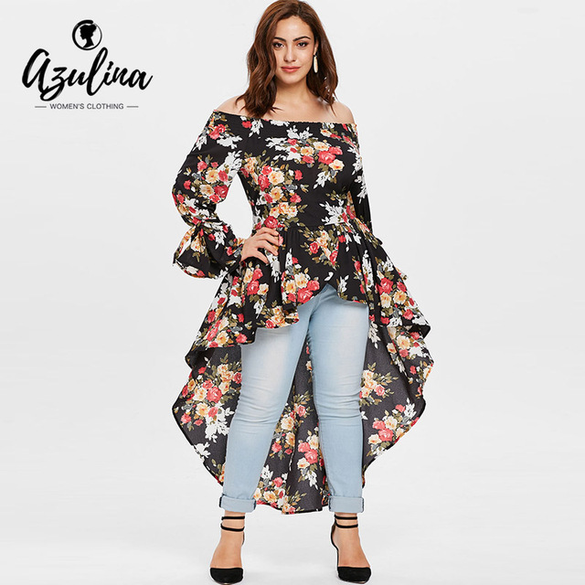 86576a8a156 AZULINA Plus Size Off The Shoulder Floral High Low Long Blouse Women Tops  Autumn Casual Blouses