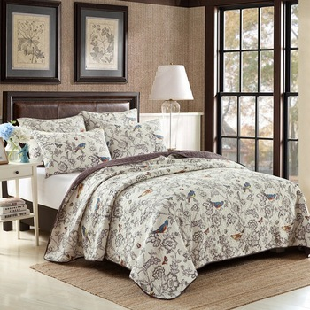 Quality 100% Cotton Bedspread Quilt Set 3pcs Pastoral Print Coverlet Quilted Quilts Bed Cover Pillowcase King Queen Size Blanket