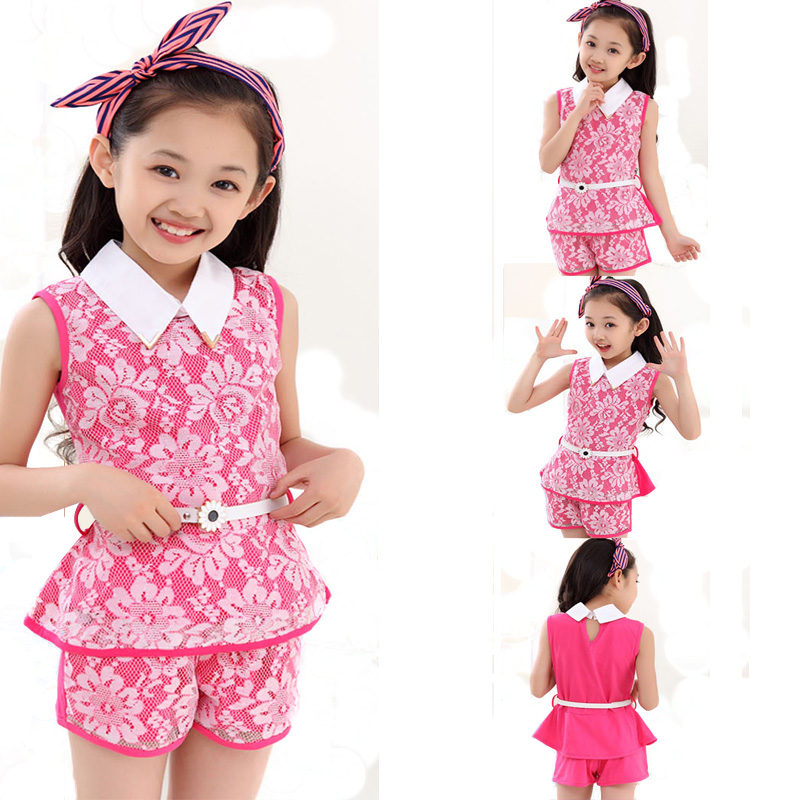 цены  Teenage Girls Clothes Sets Lace Toddler Girl Clothing Set Children Fashion Outfits Summer Kid Costume Sleeveless Top+Shorts 2Pcs