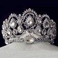 Европейский винтаж диадемы серебра свадебных Quinceanera горный хрусталь кристалл коронки свадебные прически аксессуары для невесты