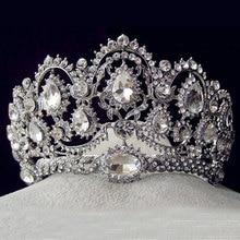 Europea Vintage de plata de la joyería nupcial quinceañera cristalinos del Rhinestone coronas del desfile del pelo de la boda accesorios por las novias