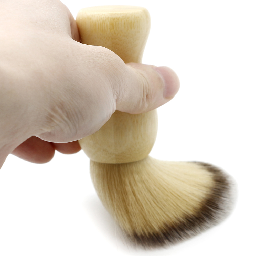 High Quality Soft Wool Hair Shaving Brush For Men Barber Beard Dusting Brushes In Bamboo Smooth Surface Hairdresser Clean Brush