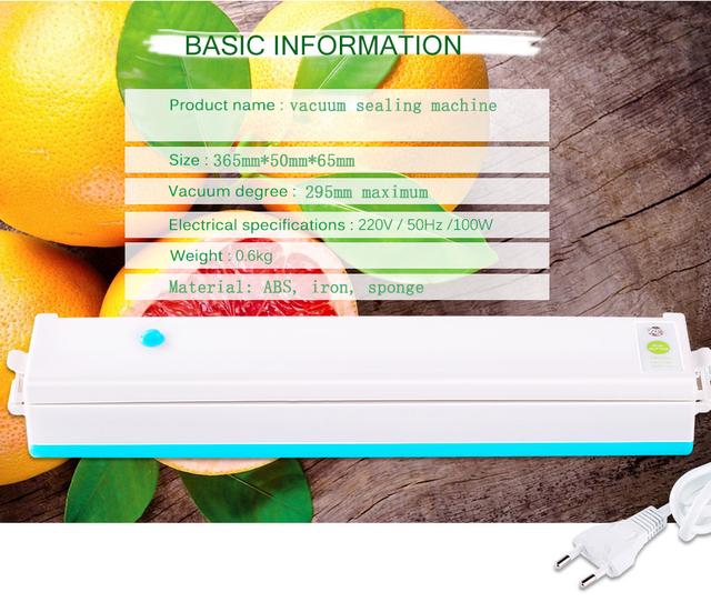 Vacuum Sealer Packer Home Food Saver Plastic Vacuum Packaging Machine Including 15pcs Bags