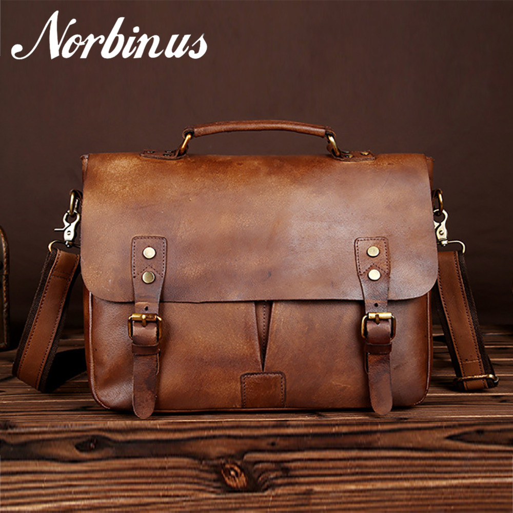 Norbinus Genuine Leather Men Business Briefcase Large Capacity Laptop Shoulder Bags Handbag Male Casual Crossbody Messenger Bags