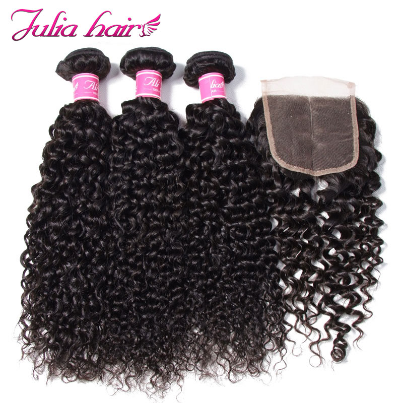 Ali Julia Hair Malaysian Curly Human Hair Bundles With Closure Free Middle Three Part Lace 3