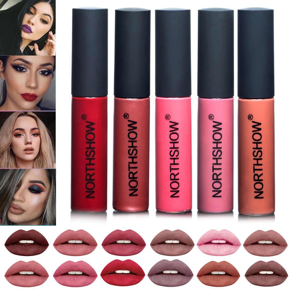 1 Pcs מט שפתון עמיד למים עירום קטיפה נוזל שפתון חלק גבוהה פיגמנט שפתיים זיגוג שפתון אדום שפתיים נשים איפור מתנה