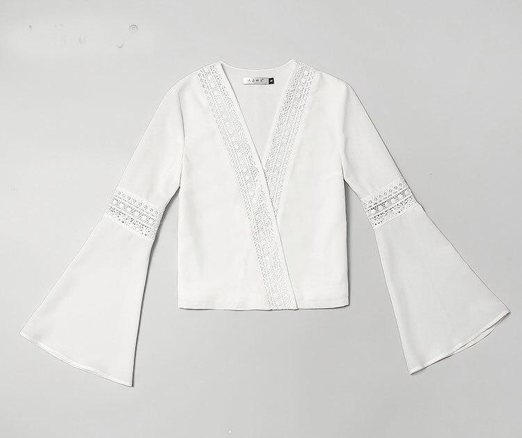 V Ensembles Pièces Costumes Taille Deux Haute K635 Femelle Femmes Manches En Blanc Date 2019 Flare Moulante Mode Chemisiers Pantalons Élégante Col q84EngT