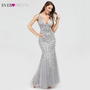 Image 4 - Sexy Sequined Mermaid Prom Dresses Long Ever Pretty V Neck Sleeveless Elegant Women Formal Party Dresses Vestidos De Gala 2020