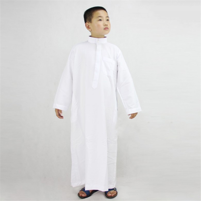 Eid Mubarak Boys Muslim Robes Summer Kaftan Abaya Prayer Mosque Traditional Clothing Kids Jubba Thobe 80-170CM Costume